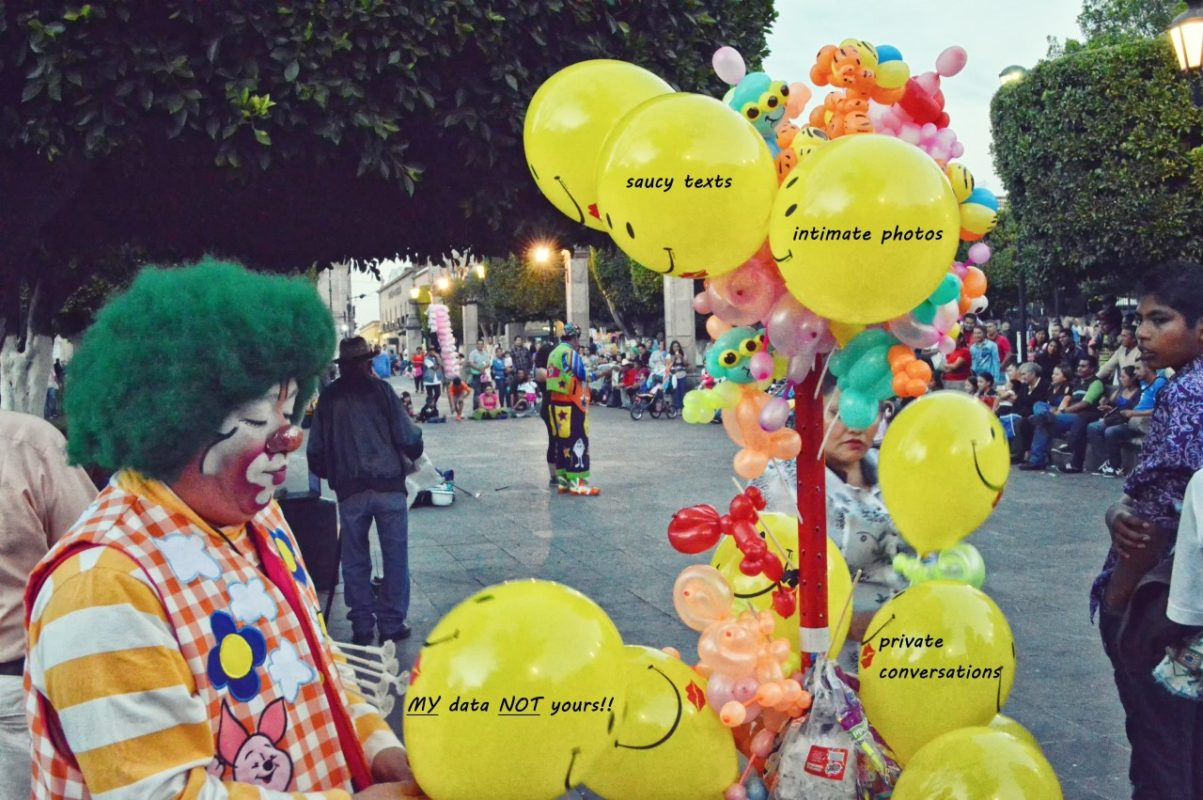 Picture of a clown with balloons with text on them that relate to the Bezos hacking events