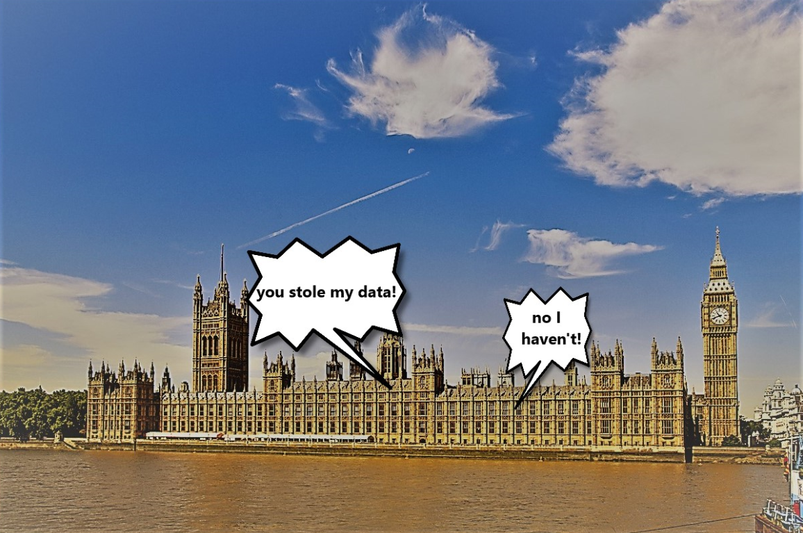 "a photograph of the houses of parliament with cartoon speech bubbles saying ""you stole my data"" ""no I didn't"" this relates to non DPA compliance in parliament"
