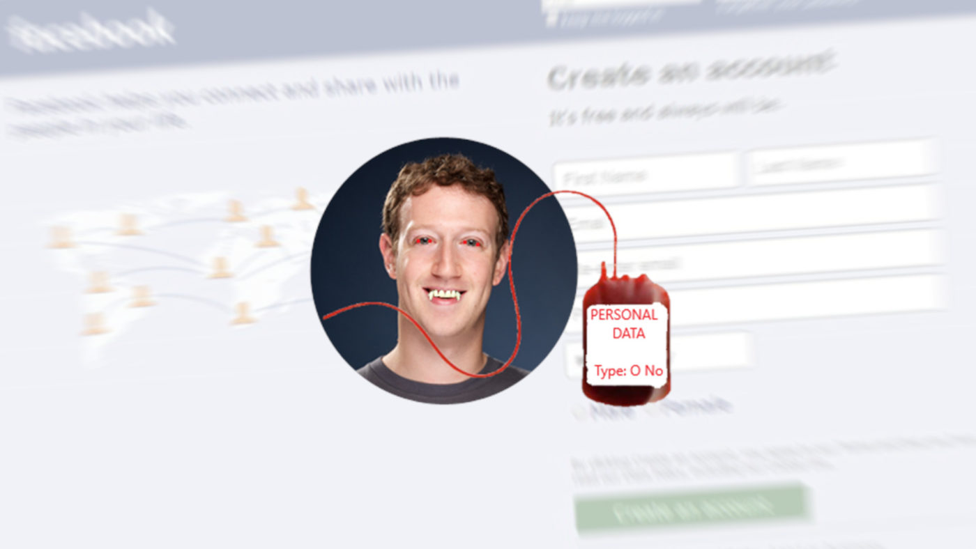 "A picture of Mark Zuckerberg with graffiti over it to look like a vampire. He has a bag of blood next to him what has the label ""Personal Data"""