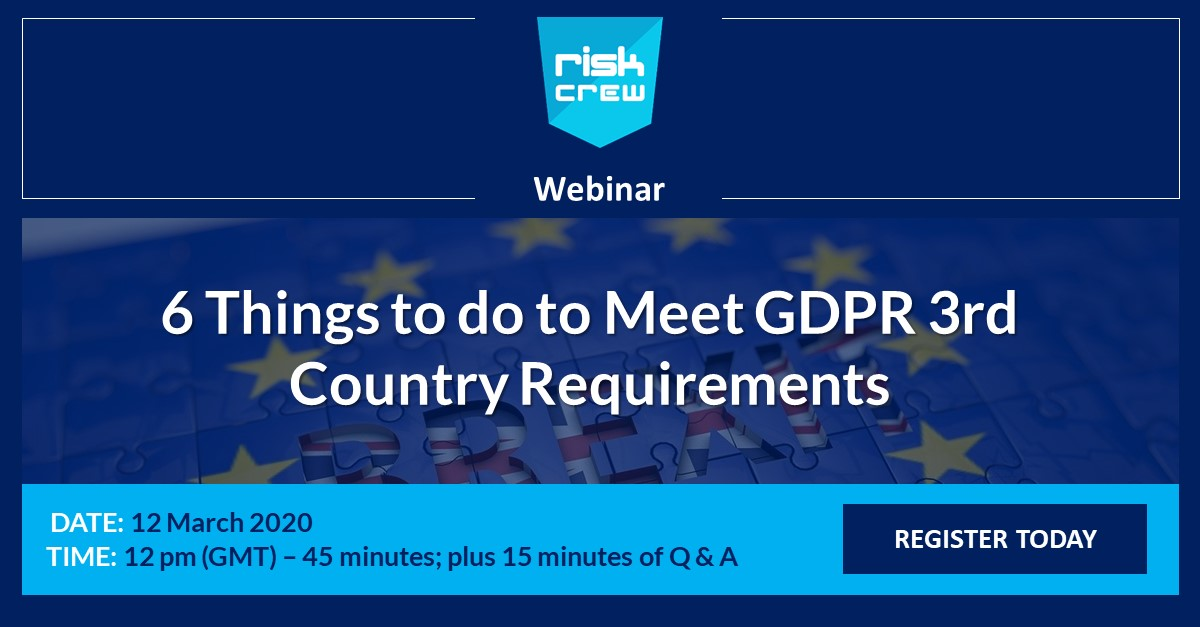 Webinar 6 Things to Meet 3rd Country GDPR Requirements